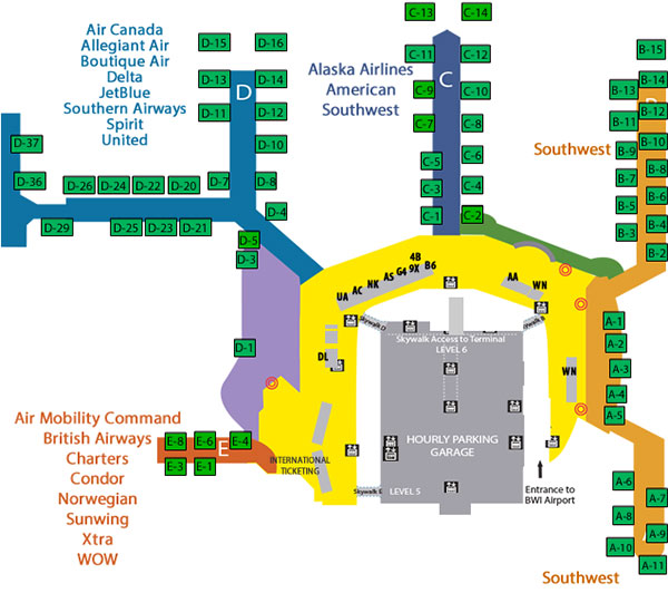 Baltimore Airport Map