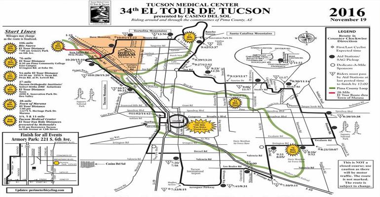 El Tour De Tucson 2016 Map