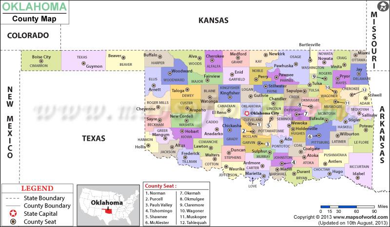 Map of Oklahoma Counties