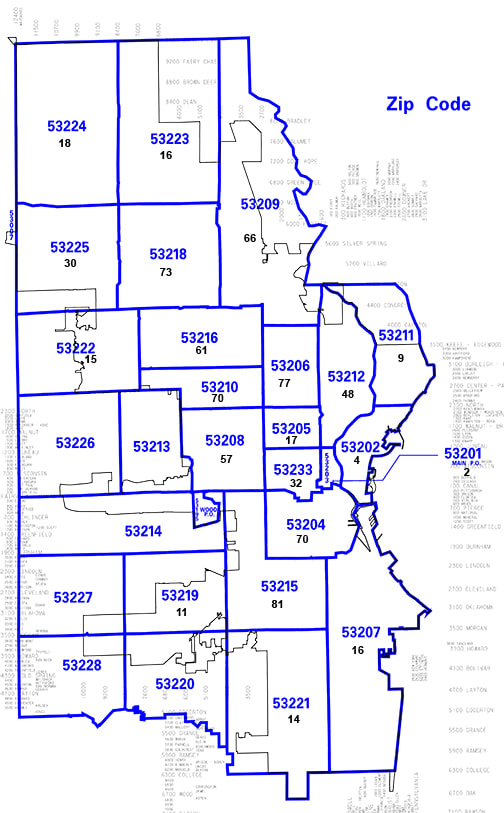 Milwaukee Zip Code Map