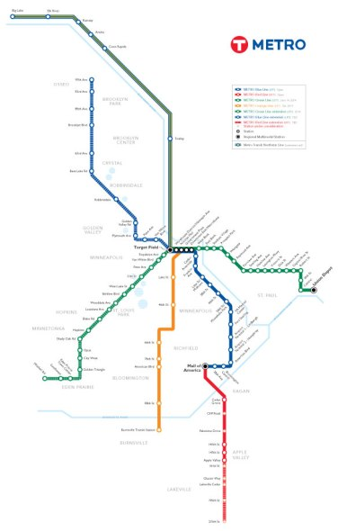 Minneapolis Light Rail Map