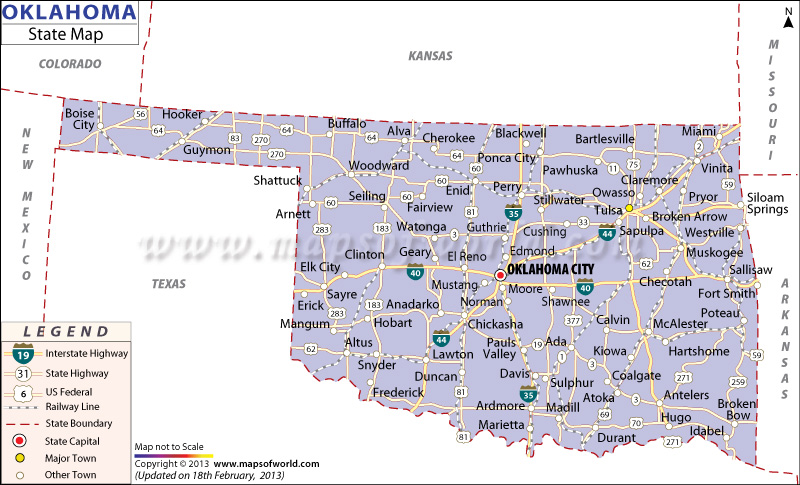 Oklahoma Map With Cities