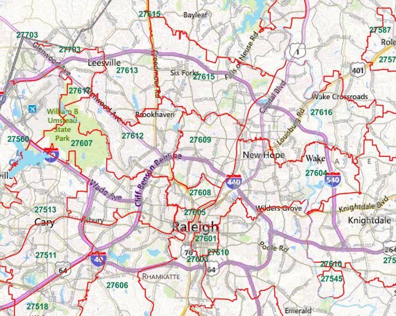 Raleigh Zip Code Map