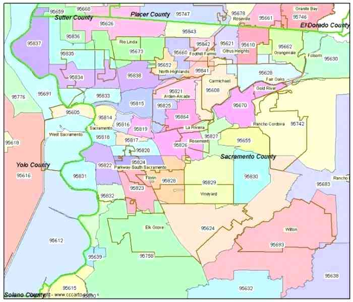Sacramento Zip Code Map