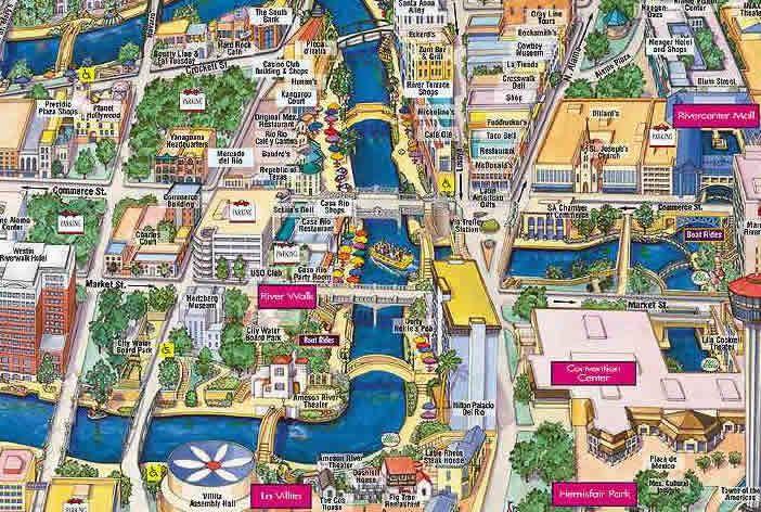 San Antonio Riverwalk Map