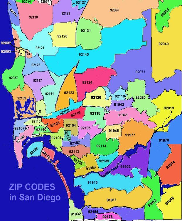 San Diego Zip Code Map