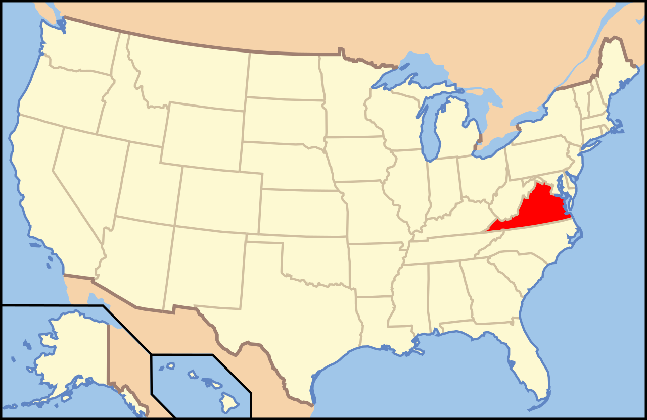 Virginia in Usa Map