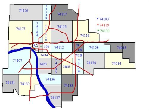 Tulsa Zip Code Map