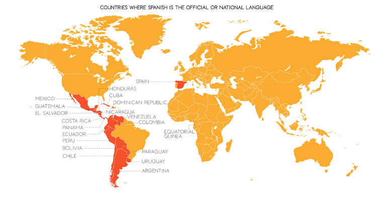 Map of Spanish Speaking Countries in 2019